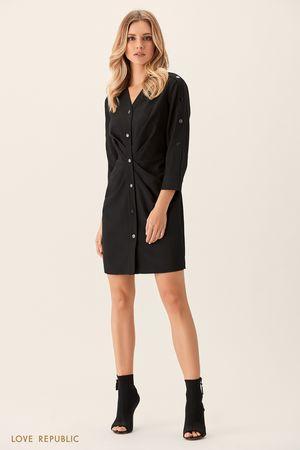 Платье-рубашка черного цвета с драпировками на талии фото