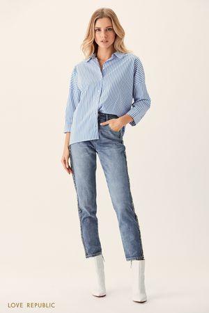 Хлопковая рубашка оверсайз с синим принтом фото