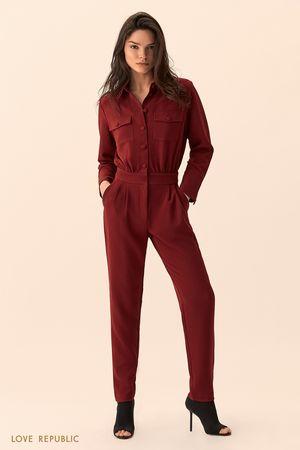 Комбинезон вишнёвого цвета с нагрудными карманами