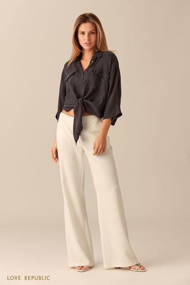 Короткая серая рубашка из ткани купро 0151002322