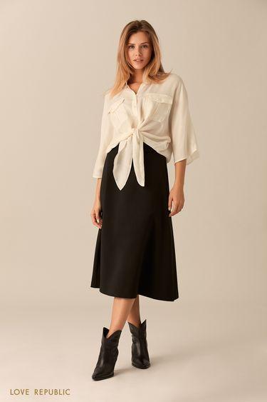 Короткая молочная рубашка из ткани купро 0151002322