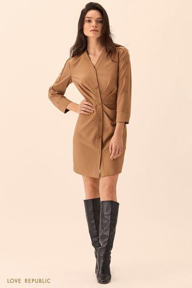 Платье-рубашка бежевого цвета с драпировками на талии 01510050527