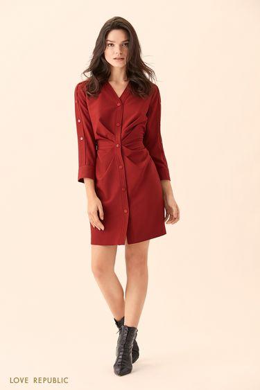 Платье-рубашка вишнёвого цвета с драпировками на талии 01510050527