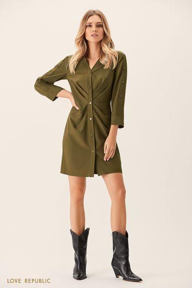 Платье-рубашка цвета хаки с драпировками на талии 0151005527
