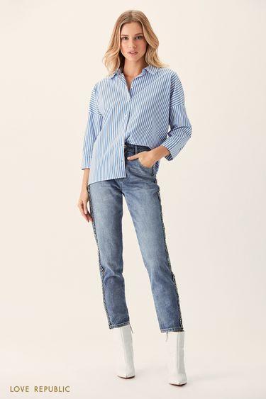 Хлопковая рубашка оверсайз с синим принтом 0151006326