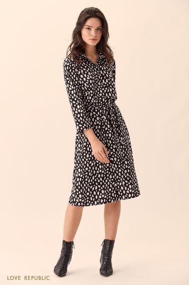 Платье-рубашка миди с поясом 01510110533