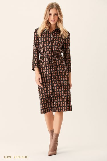 Платье-рубашка с чёрно-белым принтом 0151011533