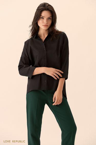 Рубашка с заниженным плечом и укороченными рукавами 01510220326
