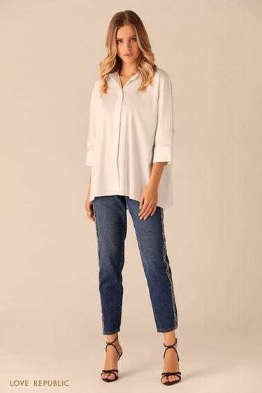 Рубашка судлинённой спинкой ирукавами три четверти 0151022305