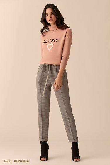 Прямые брюки со стрелками из ткани с принтом 0151063723