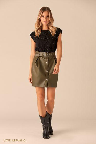 Короткая юбка цвета хаки с рядом пуговиц и поясом 0151066222