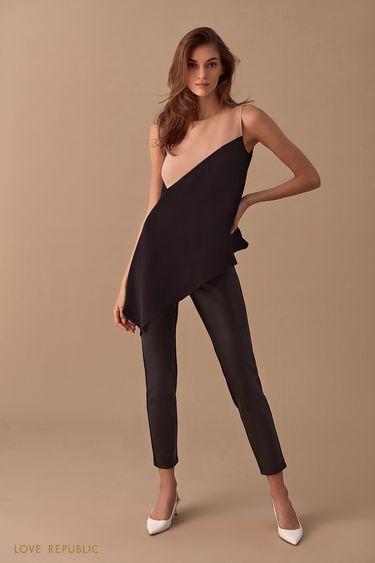 Облегающие брюки со вставкой из искусственной кожи 0151066730