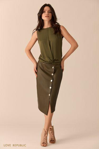 Блузка цвета хаки с драпировкой на талии 0151069321