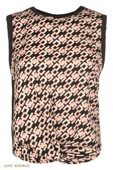 Блузка с драпировкой из ткани с коралловым принтом 0151069321