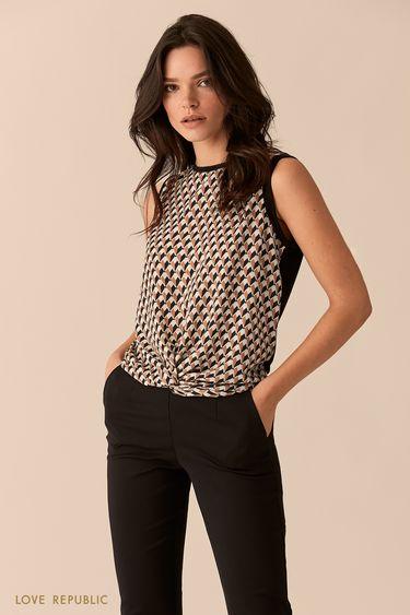 Блузка с драпировкой из ткани с чёрным принтом 0151069321