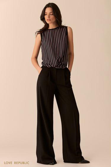 Блузка с драпировкой из ткани с фиолетовым принтом 0151069321
