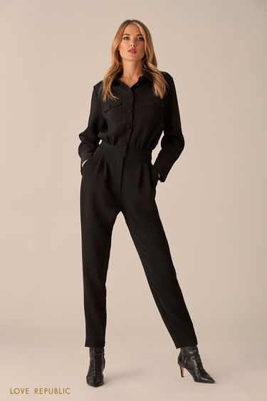 Комбинезон чёрного цвета с нагрудными карманами 0151073712
