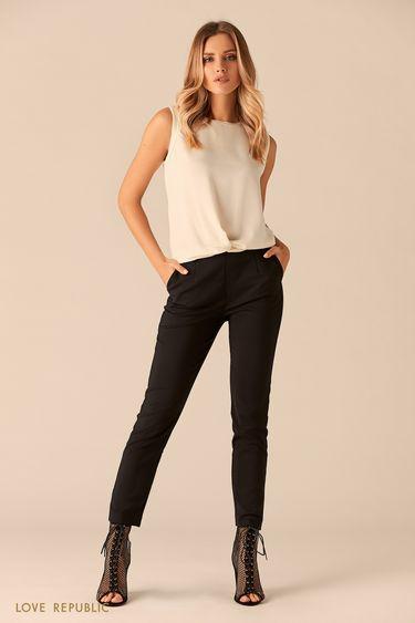 Базовые брюки из хлопковой ткани 0151084741