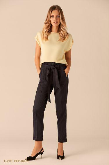 Укороченные синие брюки с принтом 0151087723