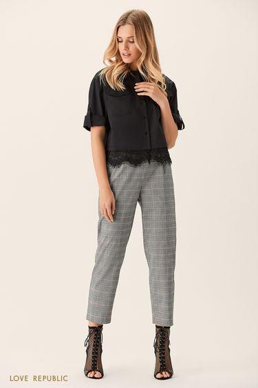 Укороченные прямые брюки сэластичным поясом 0151088721