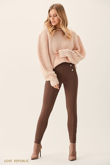 Шоколадные брюки с декоративными пуговицами 0151091746