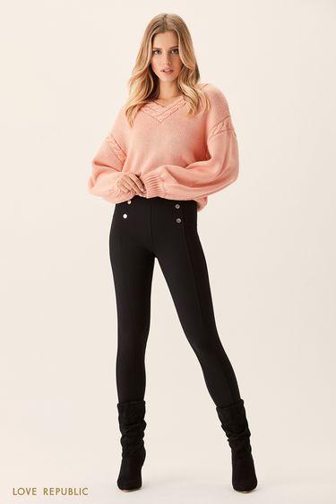 Чёрные брюки с декоративными пуговицами 0151091746
