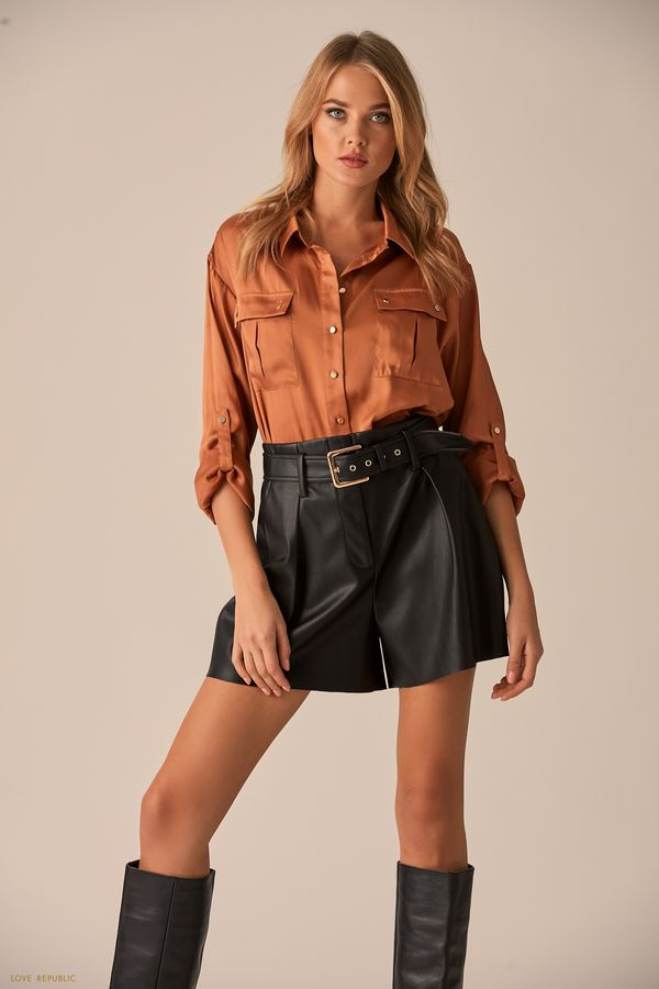 Рубашка с нагрудными карманами из ткани с чёрным принтом 0151003323-55