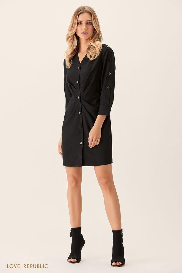 Платье-рубашка черного цвета с драпировками на талии 0151005527-50