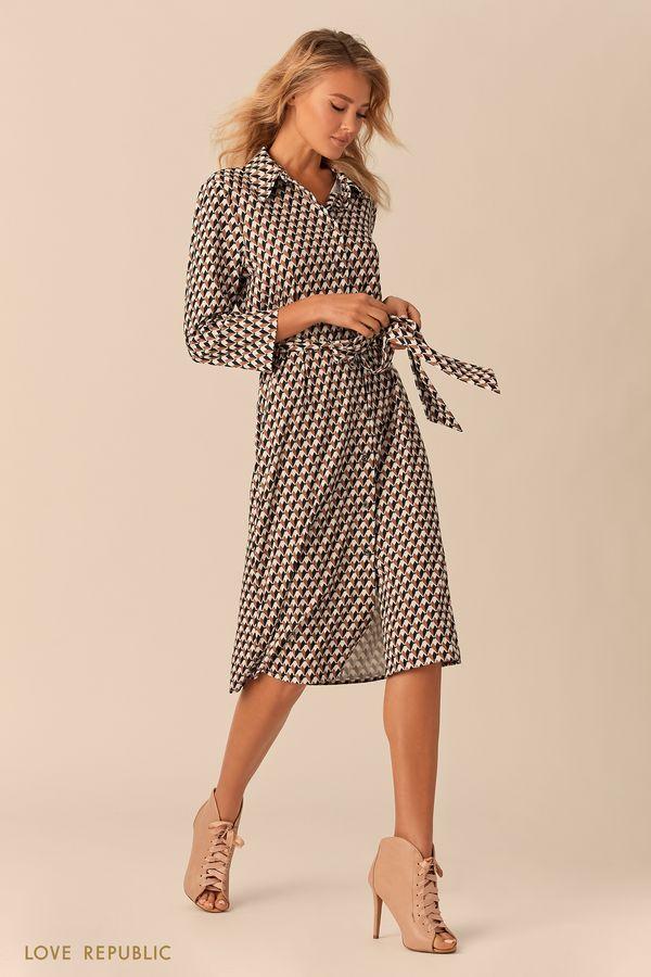 Платье-рубашка с чёрно-белым принтом 0151011533-65