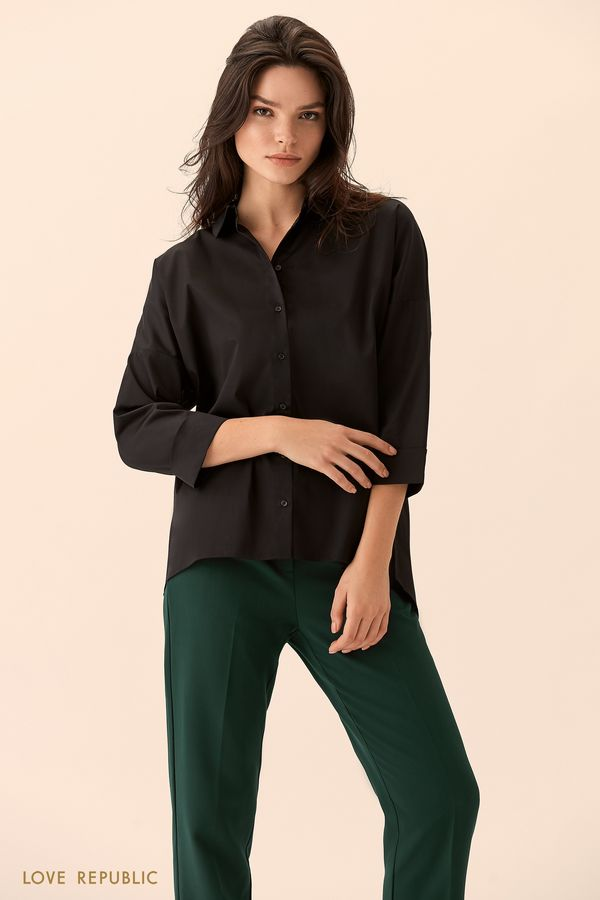 Рубашка с заниженным плечом и укороченными рукавами 01510220326-50
