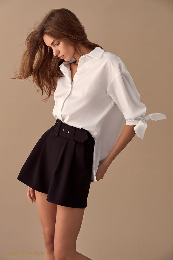 Объёмная рубашка с завязками на рукавах 01510240315-1