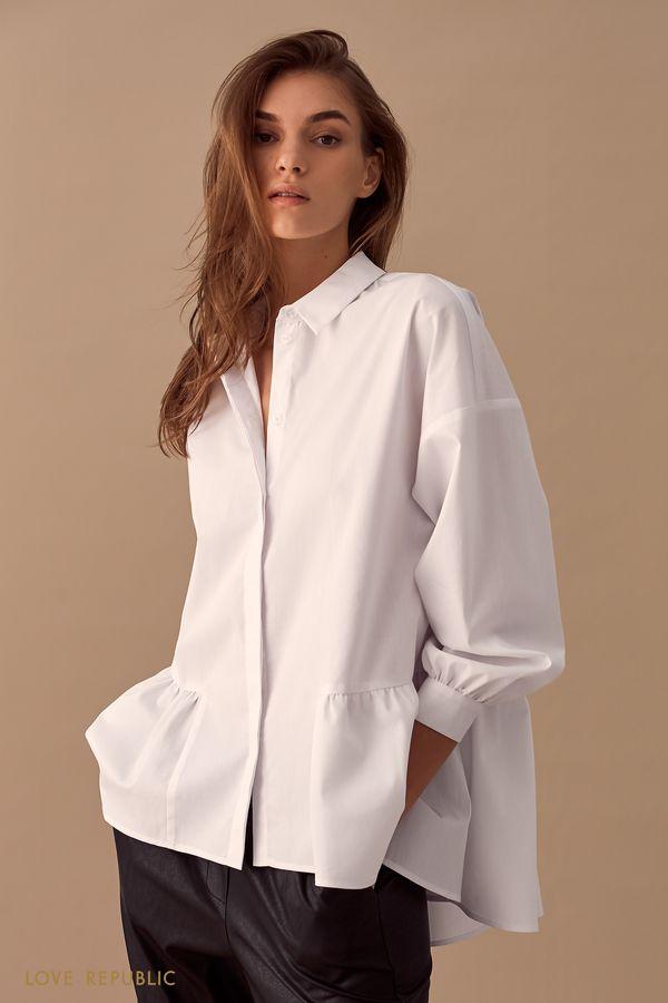 Рубашка оверсайз с баской 01510240316-1