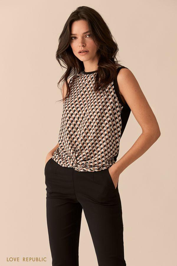 Блузка молочного цвета с драпировкой  0151069321-60