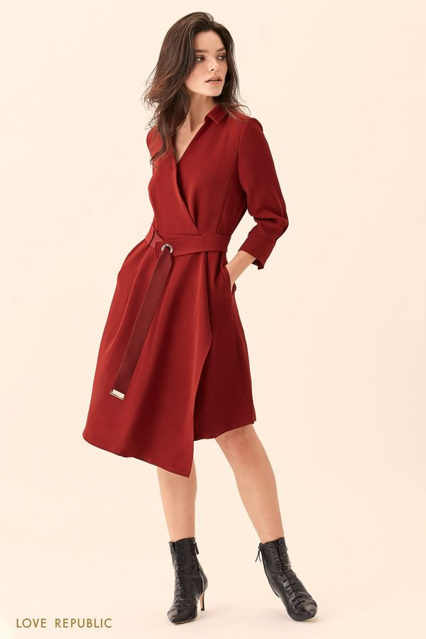 Платье-рубашка на запахе с асимметричным низом 01510730522-76