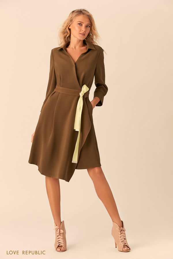 Платье-рубашка на запахе с асимметричной юбкой 0151073522-13