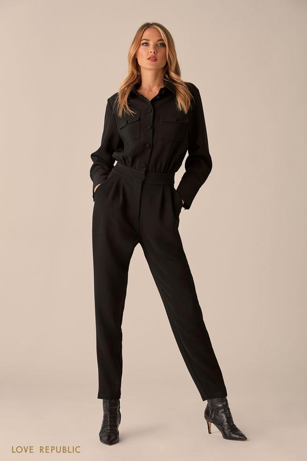 Комбинезон чёрного цвета с нагрудными карманами 0151073712-50
