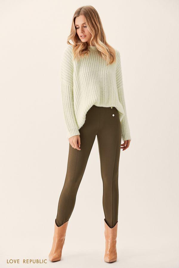 Оливковые брюки с декоративными пуговицами 0151091746-13