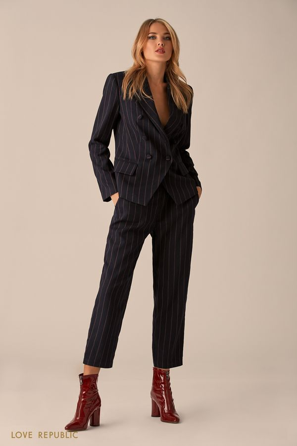 Приталенный пиджак с принтом из полос 0151098622-45