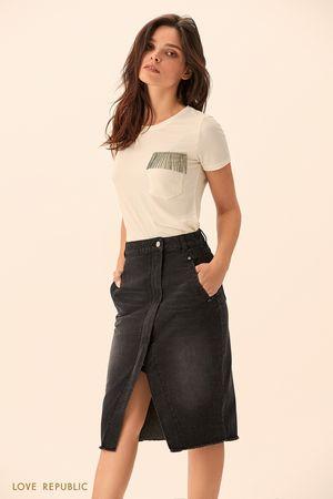 Джинсовая юбка на запахе чёрного цвета