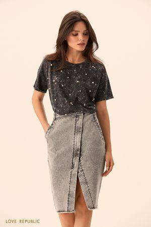 Джинсовая юбка на запахе цвета серый меланж