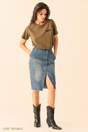Джинсовая юбка на запахе тёмно-синего цвета фото