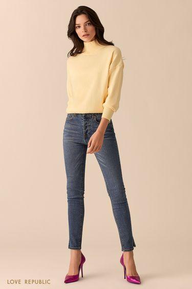 Жёлтый свитер с высоким горлом 0151135825
