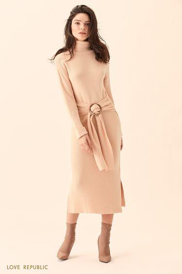 Платье цвета слоновой кости с высоким воротом и поясом 01511370521