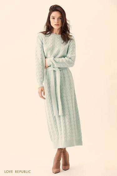 Длинное трикотажное платье фактурной вязки  01511410523