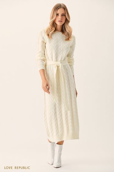 Платье макси молочного цвета фактурной вязки 0151141523