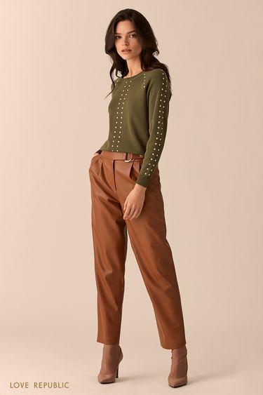 Джемпер цвета хаки с рукавами реглан и заклёпками 0151143830