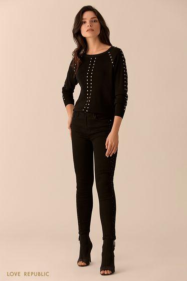 Джемпер чёрного цвета с рукавами реглан и заклёпками 0151143830