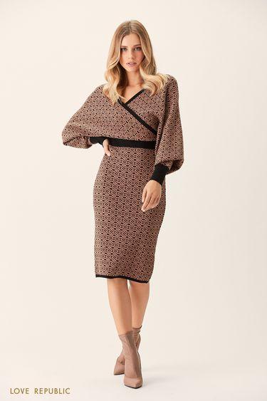 Платье-кимоно сбежевым принтом 0151145525