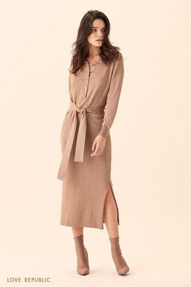 Длинное платье-рубашка бежевого цвета с поясом 01511520529