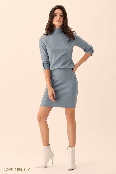 Синий свитер с высоким воротом и укороченными рукавами 01511560840